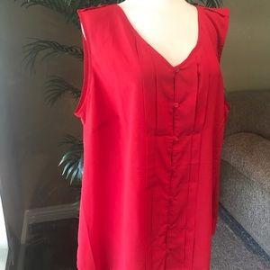 Avenue plus size red sleeveless top w/ Stretch